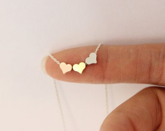 Tiny heart necklace, three sister gift, gift for best friend ,dainty heart necklace, delicate necklace, bridesmaid gift, gift for mom