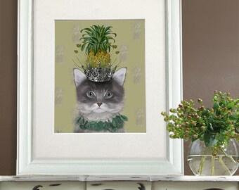 Grey Cat Print - Pineapple puss - grey cat art cat illustration cute kitten cat painting cat portrait bedroom wall art dorm room decor funny