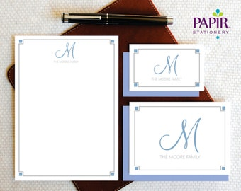 Family Personalized Stationery - ELEGANT Monogram Complete Stationery Set , Folded Note Cards and Notepad - Family Gift