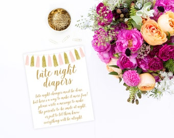 Late Night Diapers Game Sign, 8x10, Printable Baby Shower Game, Baby Shower Sign,  Pink Gold, Baby Shower Printable, Baby Shower Decor BAS12