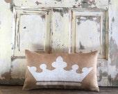 Pillow Cover | Crown Pillow | Crown Lumbar | Burlap Pillow | Princess pillow | Princess decor | Girls Room | Princess bedding