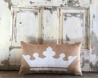 Burlap pillow -  Crown Pillow | Crown Lumbar | Princess pillow | Princess decor | Baby Girl pillow | Girls Room | Princess bedding