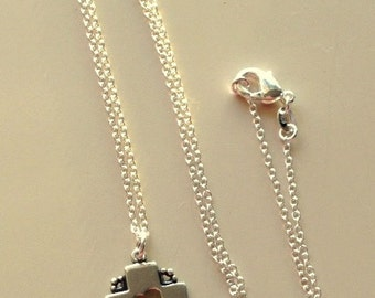 Sterling Silver Heart on Square Cross Necklace With 18 Inch Sterling Silver Chain