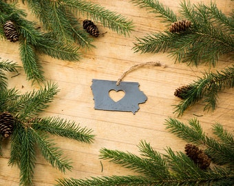 Love Iowa Christmas Ornament State Rustic Metal Ornament Recycle Steel Holiday Gift Industrial Decor Wedding Favor by ironmaidart