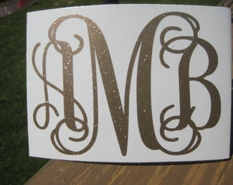 Glitter Decal Etsy - Monogram decal for car