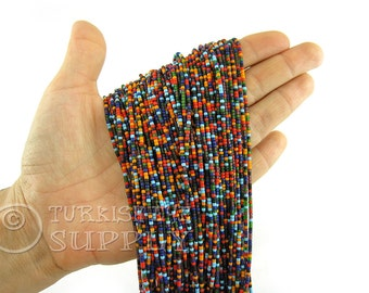 Afghan Beads 2mm Multicolor Heishi Bead Strands, Seed Beads One 1 Full Strand Mixed Color Loose Beads