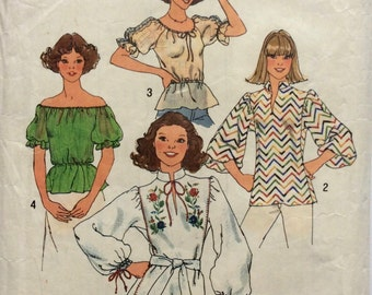 Vintage Simplicity Sewing Pattern 7530 Pullover Peasant Tops Size 16/18