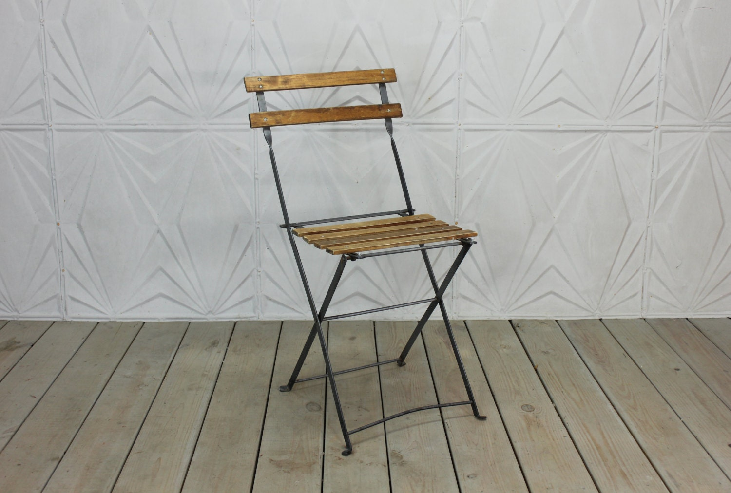 vintage french bistro chair folding wood metal side rustic