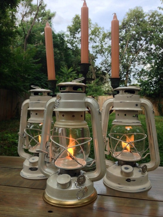 White railroad lantern wedding or party by