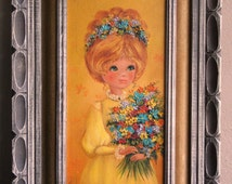 Vintage Original Oil Painting on canvas of Big-eyed Girl Holding Flowers from the '60s or '70s