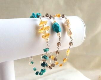 Gemstone Stacking Bracelets Set of 3 Turquoise Citrine Smokey Quartz Pearl Sterling Silver Boho Layering Chain Fine Jewelry Life Bijou