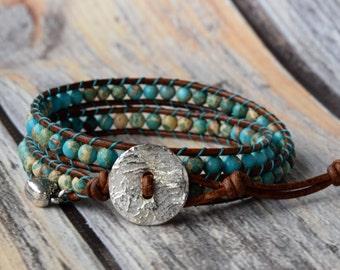 Turquoise Wrap Bracelet, Jasper Gemstones, Wrap Bracelet, Beaded Wrap Bracelet, Bracelet Wrap, Leather Wrap Bracelet, Beaded Leather Wrap