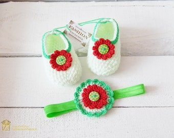 My First Christmas Outfit. Newborn christmas outfit girl. Infant Crochet Set. First birthday. Floral outfit. Mary jane shoes.