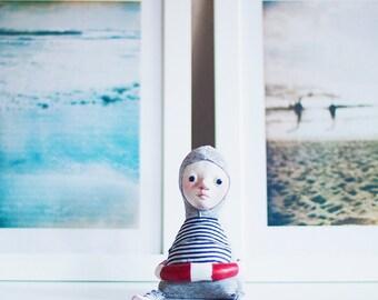 Swimmer art doll - sea inspired doll, art dolls, seascape art, navy style decor, nautical decor, beach decor, swimmer gift, ocean lover gift