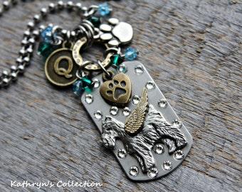 Schnauzer Angel Dog Tag Necklace, Schnauzer Memorial Necklace, Schnauzer Jewelry, Pet Memorial Jewelry, Loss of Dog