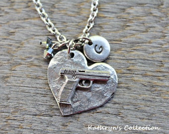 Handgun Necklace, Gun Pistol Necklace, Law enforcement Jewelry, Semi Automatic Gun, Firearm