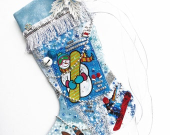 Snowboarder Christmas stocking, a custom handmade one-of-a-kind holiday decoration for anyone who loves snowboarding