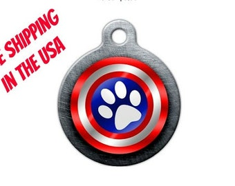 Captain America Pet Engraved Pet ID Tag