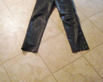 Black Leather Motorcycle Riding Pants Joe Rocket Vintage Rockstar Womens size 10