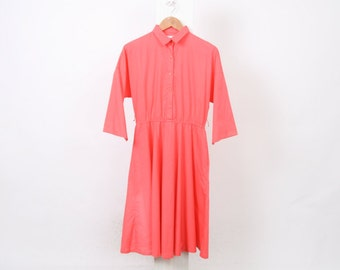 80s VINTAGE Womens Au 12 14 US 8 10 Pink Cotton Polyester Midi Elasticated Waist Button Down Shirt Made In USA Coral Dress