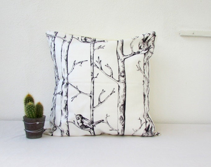 CLEARANCE Woodland print cushion cover, cotton pillow cover, 16 inch cushion, natural decor boho homeware rustic cushion, handmade in the UK