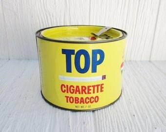Vintage Tin Can, Top Cigarette Tobacco Tin with Original Lid, Retro Yellow Planter, Man Cave Decor, Collectible Advertising