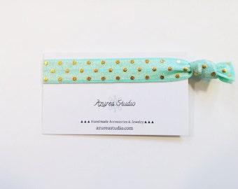 Light Mint Green Gold Polka Dot Hair Tie