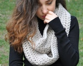 Crochet Scarf, Chunky Knit Infinity Scarf, Gift for Her - Light Beige / HERA