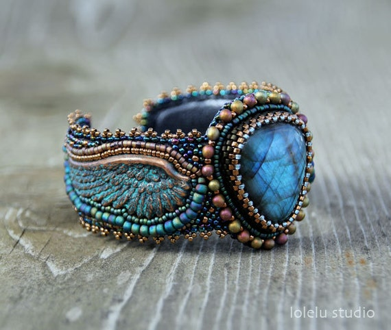 Angel bead embroidered cuff bracelet with labradorite