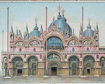 1900 BYZANTINE ART. Venice, Palermo... Antique Beautiful Lithography 115 years old nice print!