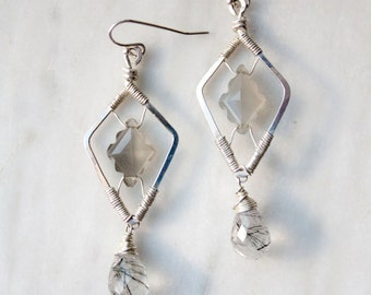 Wire wrapped Moonstone and Rutilated Quartz Statement Chandelier Earrings