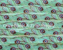 Peacock Print Fold Over Elastic for Baby Headbands - 5 Yards of 5/8 inch FOE - Embellishement - Printed Colored Elastic By The Yard