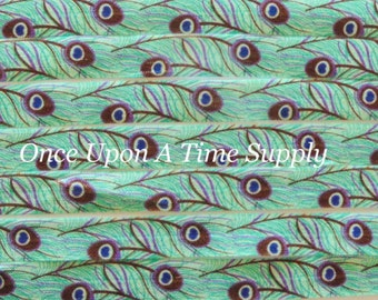 Peacock Print Fold Over Elastic for Baby Headbands - 5 Yards of 5/8 inch FOE - Embellishement - Bird Printed Colored Elastic By The Yard