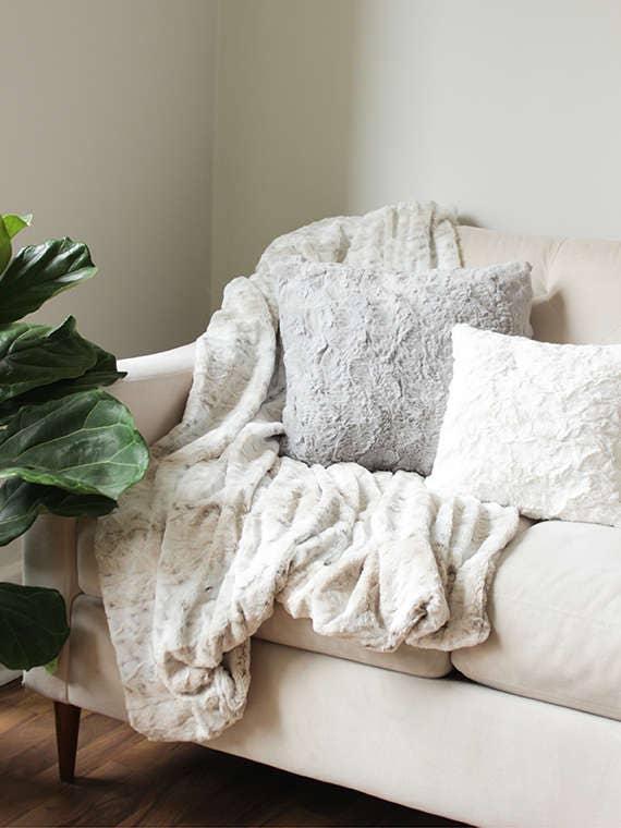 Faux fur throw blanket sofa throw decorative blanket for Fur throws for sofas