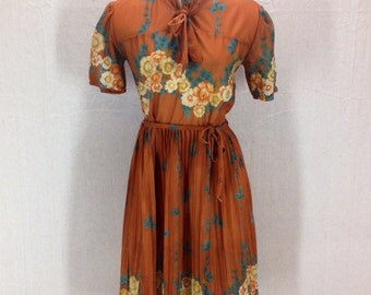 Vintage 70's Floral Sheer Dress made by Feling's Original