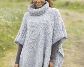 Knitted Poncho,Knit poncho with neck,winter poncho,alpaca poncho,spring poncho Made to order
