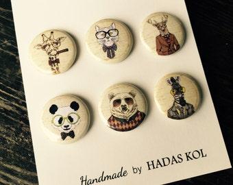 Hipster Animals Magnets. Set of 6 magnets. Fridge Magnets, Kitchen Magnets, Button Magnets.
