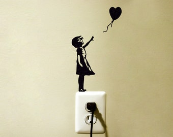Girl With a Balloon Wall Sticker - Teen Room Decor - Child Silhouette Wall Sticker - Fabric Laptop Sticker - Mac Decal Sticker - Banksy Art