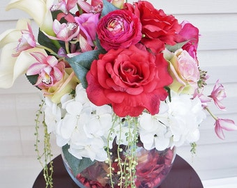 Rosie Posies ~ Home Decor, Silk Floral Arrangement, Center Piece