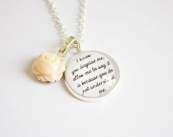 North & South quote necklace. Elizabeth Gaskell. Mr. Thornton. Margaret Hale. Literature. Book lovers. Personalized