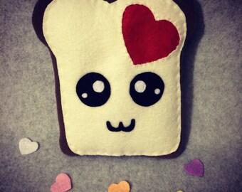 Heart Toast Plush, Love Plush, Kawaii, Valentine