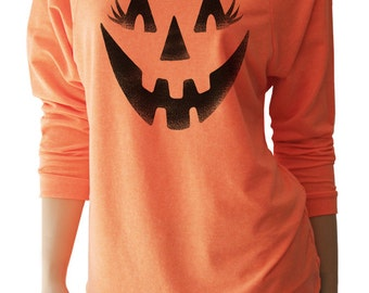 Pumpkin Face Halloween Shirts. Women's Halloween Shirts. Jack o Lantern. Halloween Sweatshirt. Halloween TShirt. Halloween Shirts for Women