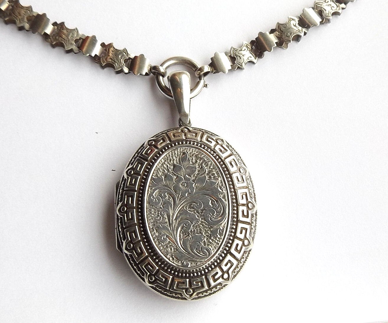 Victorian Locket And Book Chain Sterling Silver Antique