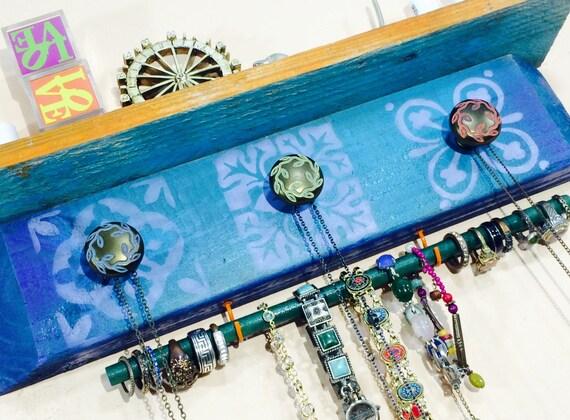 "Pallet wood shelf decor floating shelves jewelry storage bedroom wall organizer morrocan tiles 3 hand painted knobs 2 hooks 12"" bracelet rod"