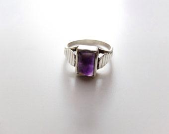 Retro Ring, Amethyst Ring, Silver, Gemstone Ring, Rectangular Stone, Ethnic Jewelry, Artisan Ring, India Jewelry