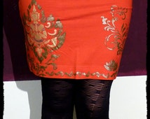 S , red Skirt with Buddha metallic floral  - handpainted by Black Cat Design