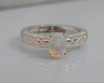 Ethiopian Opal Ring, Promise Ring, Sterling Silver, 7x5mm Faceted Opal Gemstone, October Birthstone Ring, Wedding Jewelry, Opal Jewelry