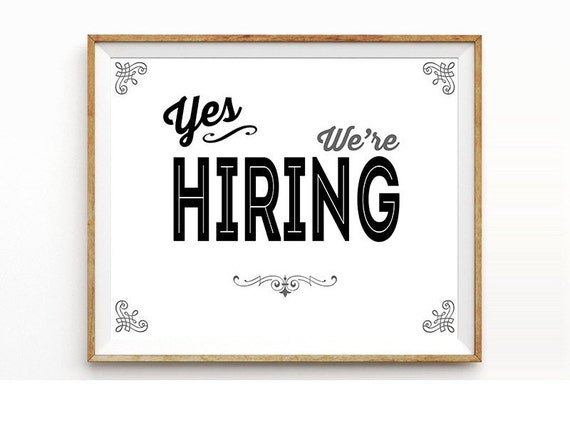 Influential image pertaining to now hiring sign printable