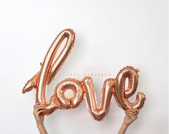 Rose Gold Script Love Balloon, Cursive Love Balloon, Rose Gold Love Balloon Banner, Engagement Balloon, Wedding Balloon, Wedding Love Sign