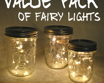 VALUE PACK Fairy Lights for mason jars and centerpieces. You pick quantity. 10 LEDs per wire, warm white lights for mason jars or crafts